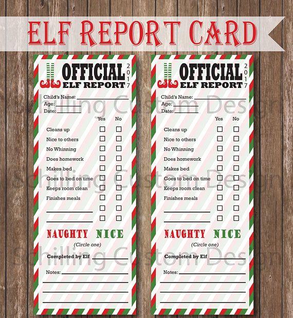PRINTABLE Elf Report Card INSTANT Download Elf