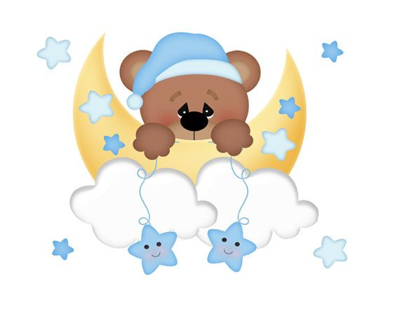 TEDDY BEAR MURAL Wall Art Decals for baby boy nursery room decor. For fun, Teddy Bear loves playing on the moon with his friends the stars #decampstudios #babyteddybear