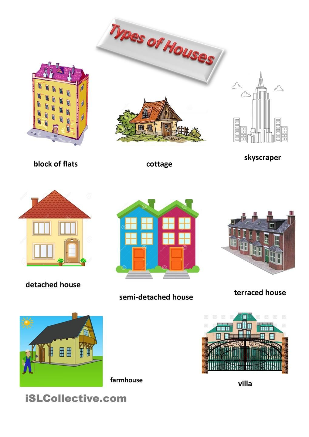 Types Of Houses Types Of Houses Learning English For Kids English Activities