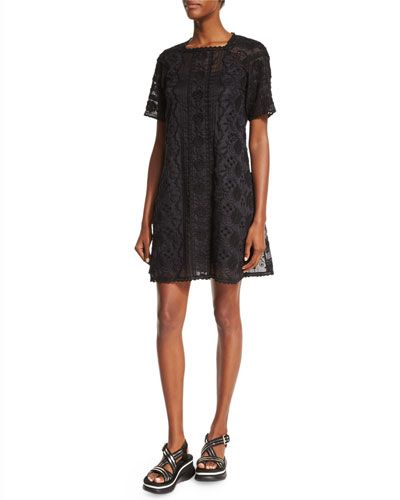 MARC JACOBS Short-Sleeve Lace Dress W/Slip, Black. #marcjacobs #cloth #