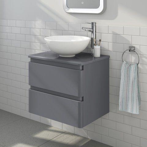 600mm Denver Ii Gloss Grey Countertop Unit Basin Wall Hung Countertop Basin Bathroom Grey Countertops Countertop Basin