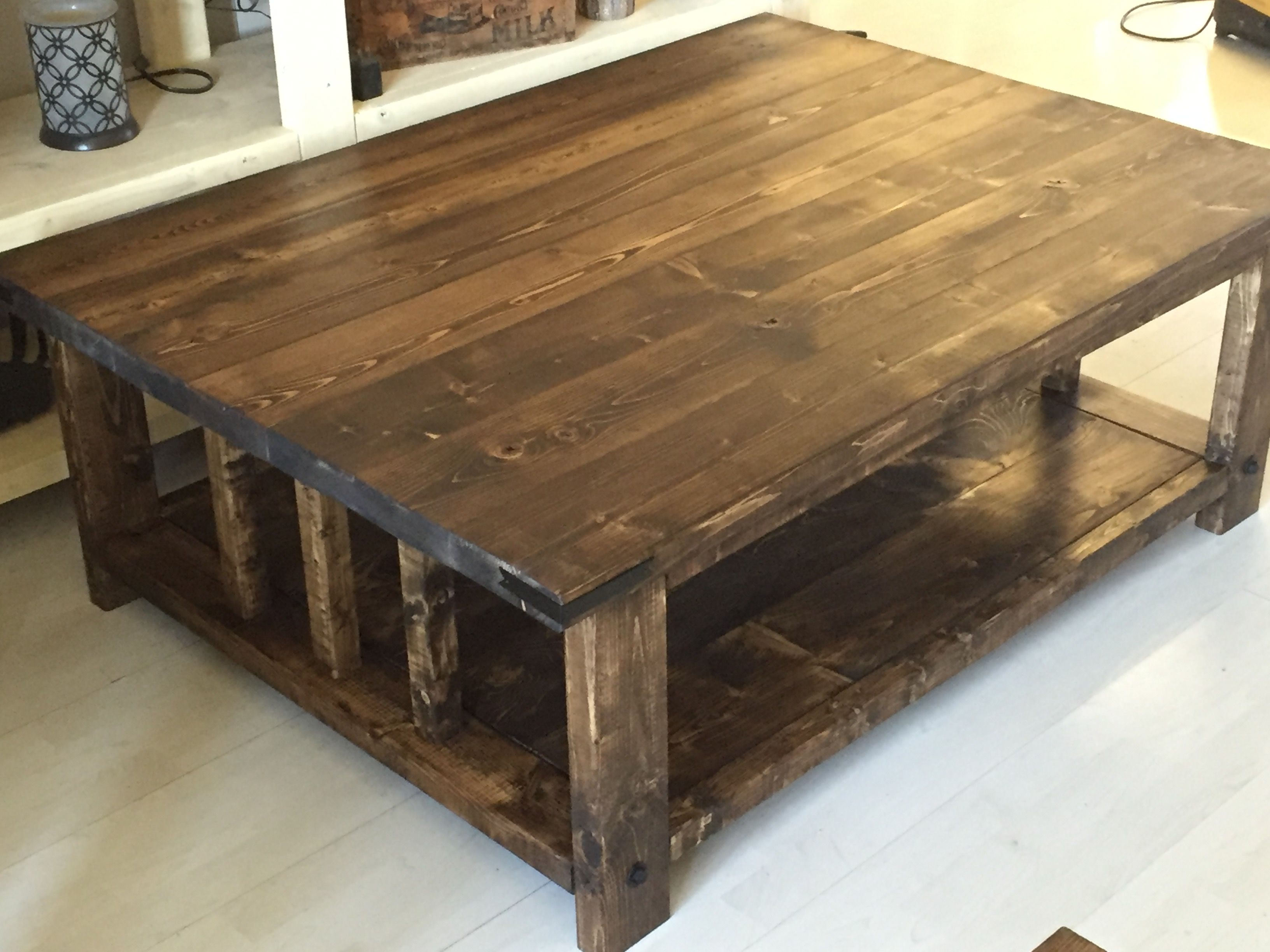 Rustic coffee table stained dark walnut