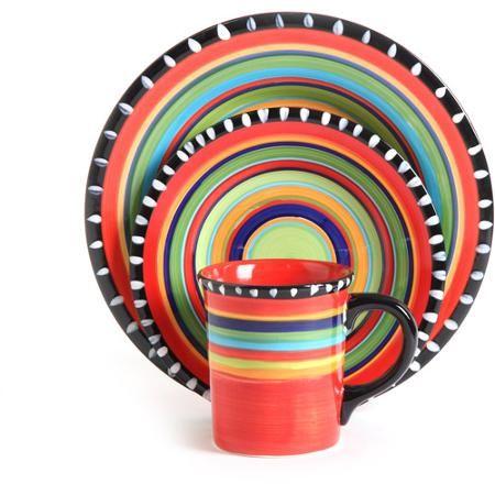 Gibson Home Pueblo Springs Handpainted 16-Piece Dinnerware Set Multi-Color  sc 1 st  Pinterest & Gibson Home Pueblo Springs Handpainted 16-Piece Dinnerware Set ...