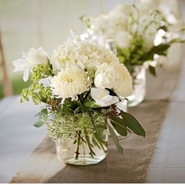 Flower Table Arrangements For Weddings: Ivory And Green... A Floral Classic
