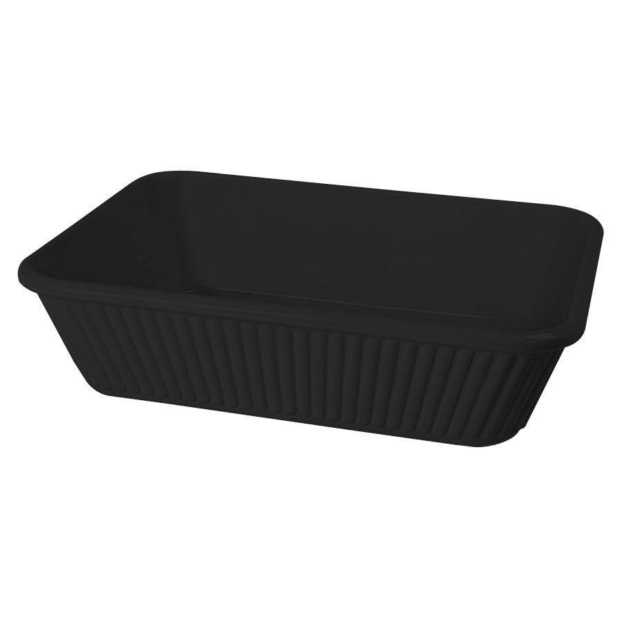 3 qt. 10 inch x 8.75 inch Casserole Dish 3 inch Deep Black Melamine/Case of 3