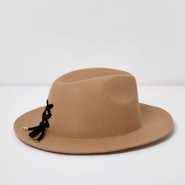 River Island Camel lace-up detail fedora hat ( 50) ❤ liked on Polyvore  featuring accessories ccfb24a8fb68