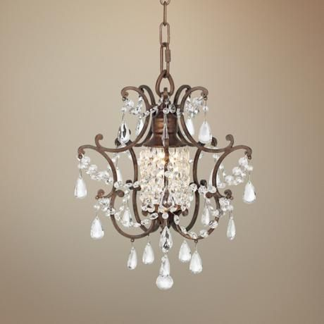 Mini chandelier on pinterest semi flush lighting for Small chandeliers for bathrooms