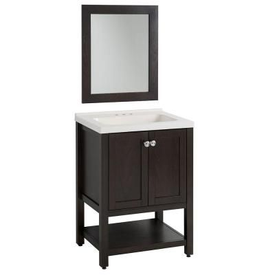 glacier bay sea bright 24 in vanity in charcoal with cultured marble white vanity top