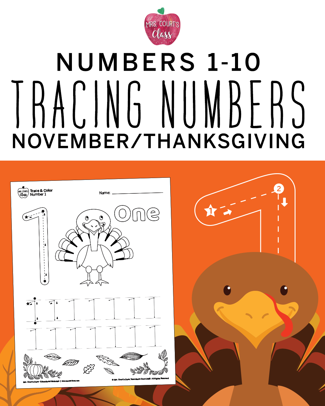 Color Amp Trace Numbers 1 10 Thanksgiving With Images