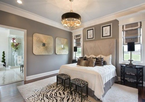gold grey and white bedroom