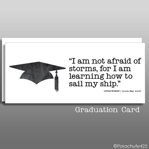 College Graduation Quotes For Daughter: Alcott Quote Card, Graduation Card, College Graduation