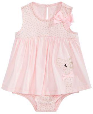 29a7750358ee Baby Girls Cotton Giraffe Skirted Romper