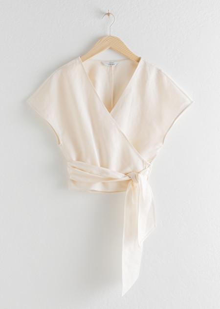 Linen Blend Wrap Top - White - Tops - & Other Stories