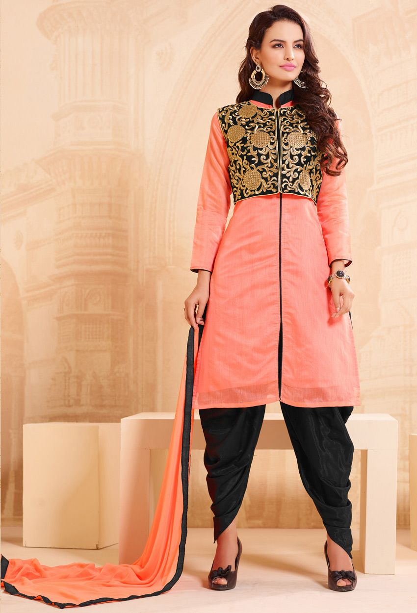 be75fa25b59 #Peach And 3Black #Chanderi #Dhoti Style #Suit #nikvik #usa #designer  #australia #canada #freeshipping #suits #collar #pakistani