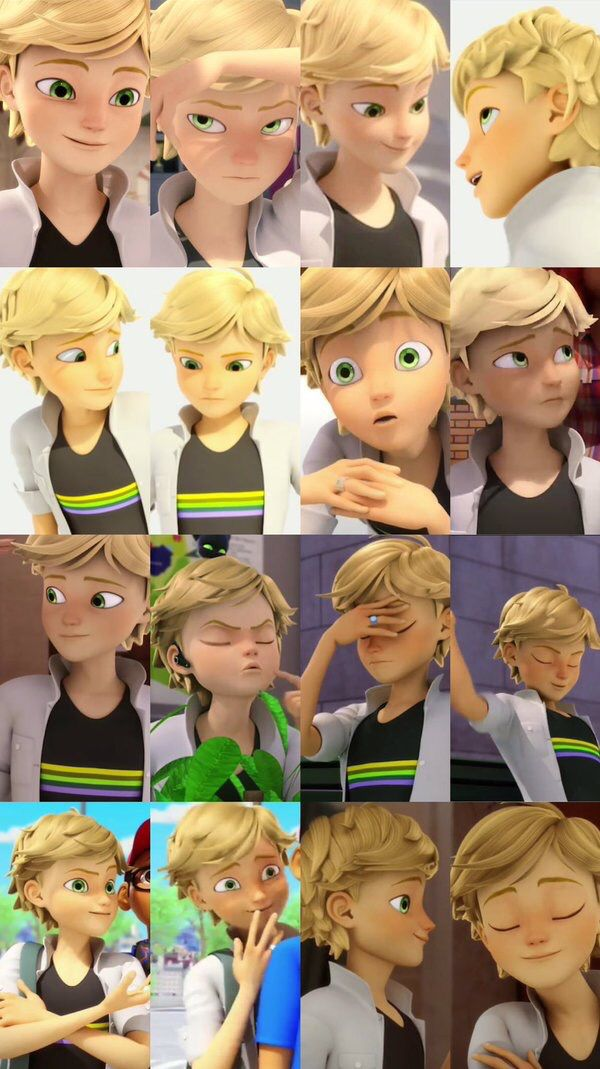 The third face is the face he uses when he looks at ladybug. The face of love n lust