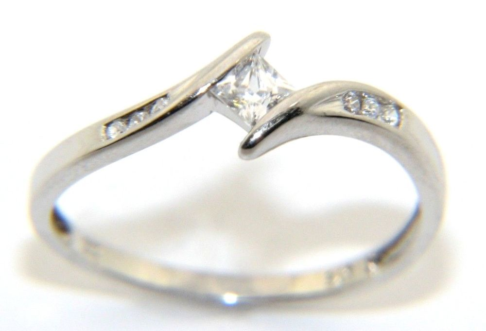 Ladies Womens 9ct 9carat White Gold Clear Cz Dress Ring Uk Size N Dress Rings Women Rings White Gold