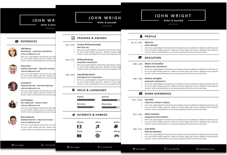 John Wright Resume Template Fullwidth Instant Download File Format