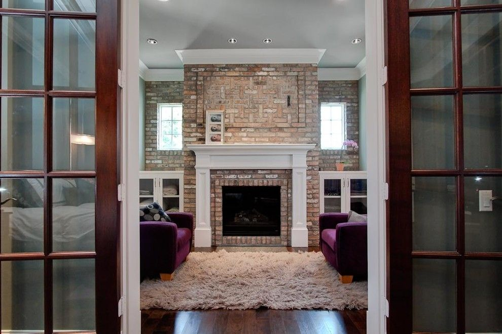 Fireplace Mantel Kits Family Room Traditional with Area Rug Brick Fireplace… - Fireplace Mantel Kits Family Room Traditional With Area Rug Brick