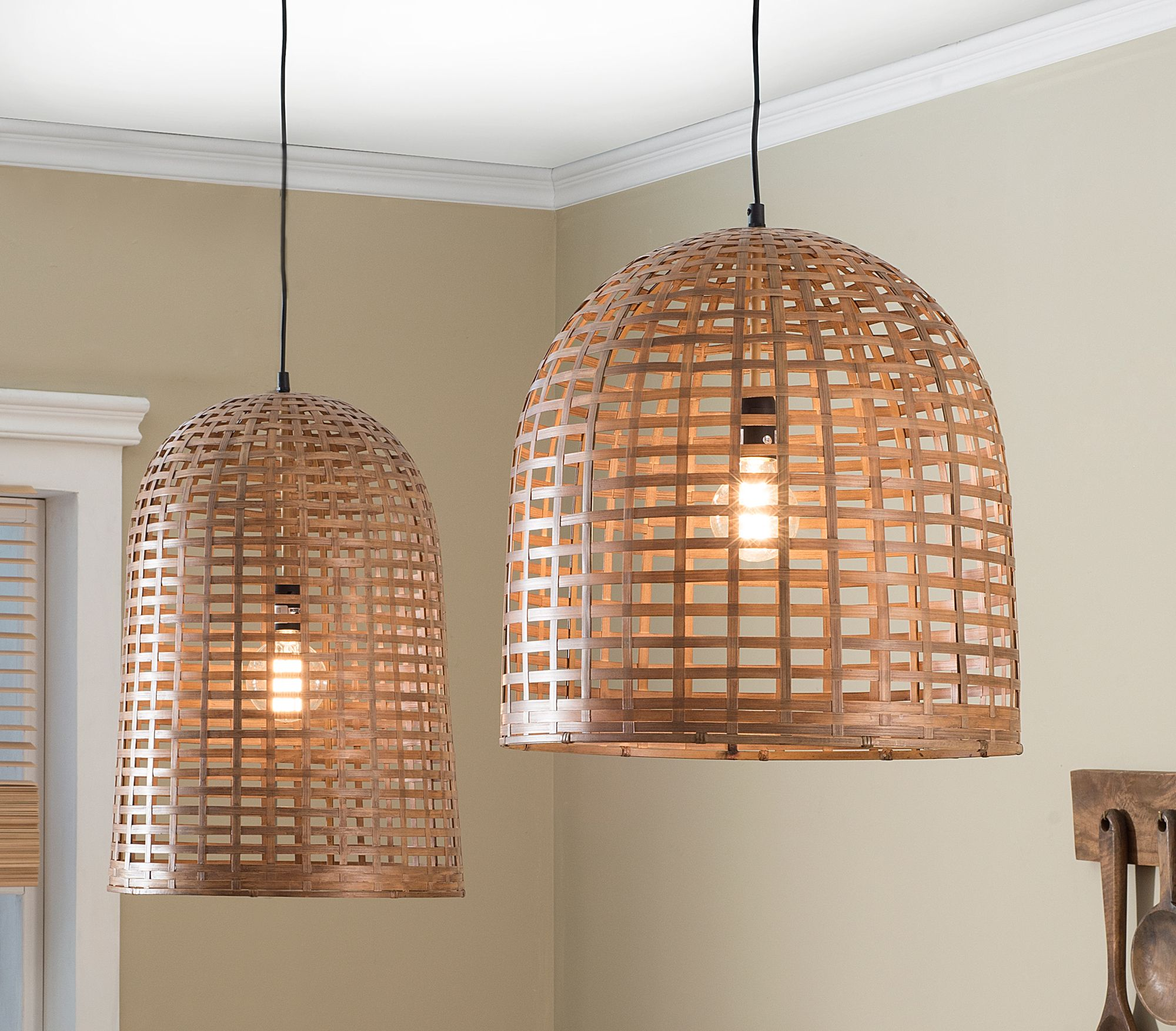 Creative co op lighting - Casual Country Banboo Bell Pendant Lamps Creative Co Op Home