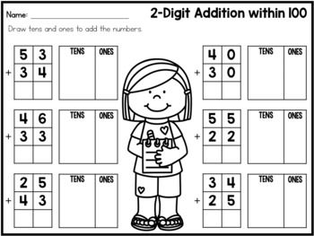 2 Digit Addition Without Regrouping Worksheets and Task