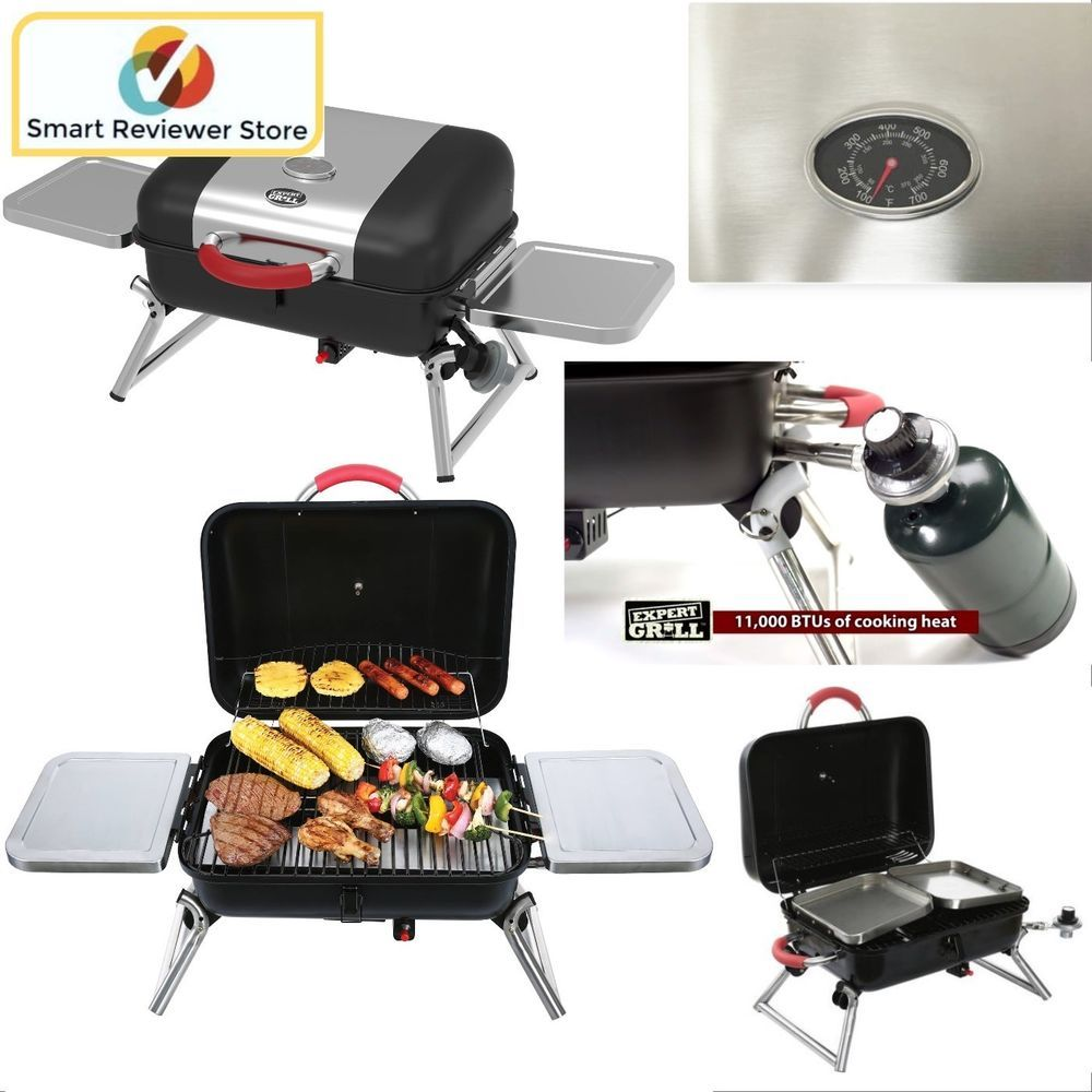 Portable Gas Bbq Grill Propane Foldable Tabletop Backyard Camping