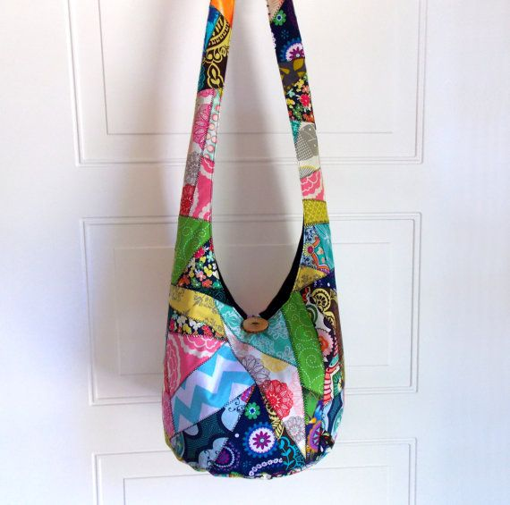 Hobo Bag Patchwork Crazy Quilt Sling Bag Bright by 2LeftHandz, $40.00