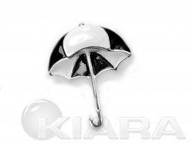 Broszka w kształcie pięknej, czarnobiałej parasolki, posrebrzany metal pomalowany ręcznie emalią, produkt zabezpieczony przed utlenianiem. ...