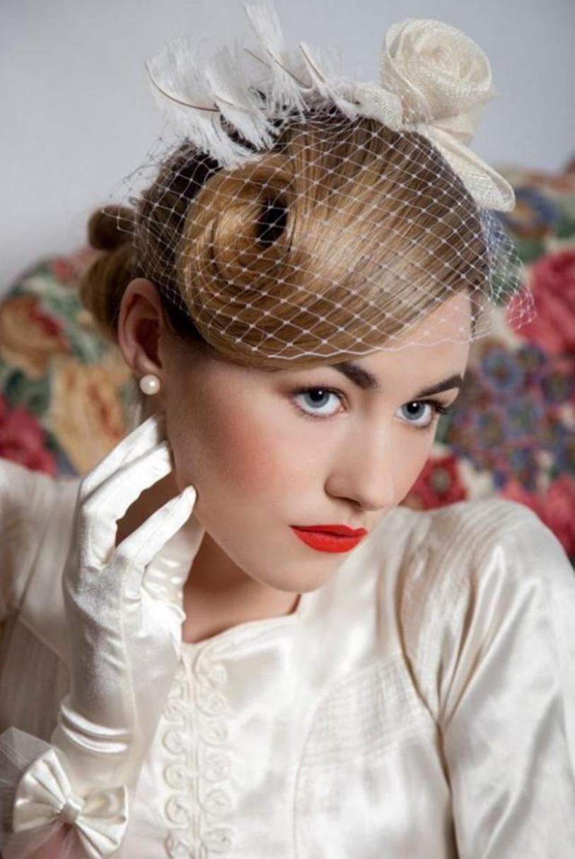 vintage wedding hairstyles with birdcage veil | winter