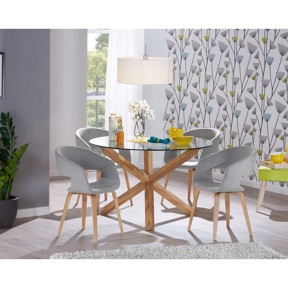 Mesa de comedor saskia redonda muebles jysk for Disenos de comedores de madera modernos