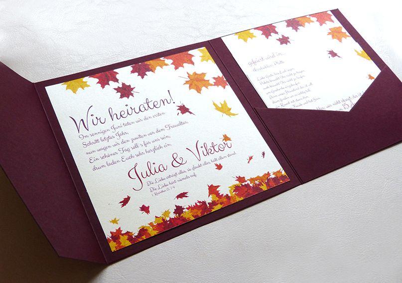 Pocketfolder Karten Einladungskarten Fur Hochzeit Mit Herbst Motiv
