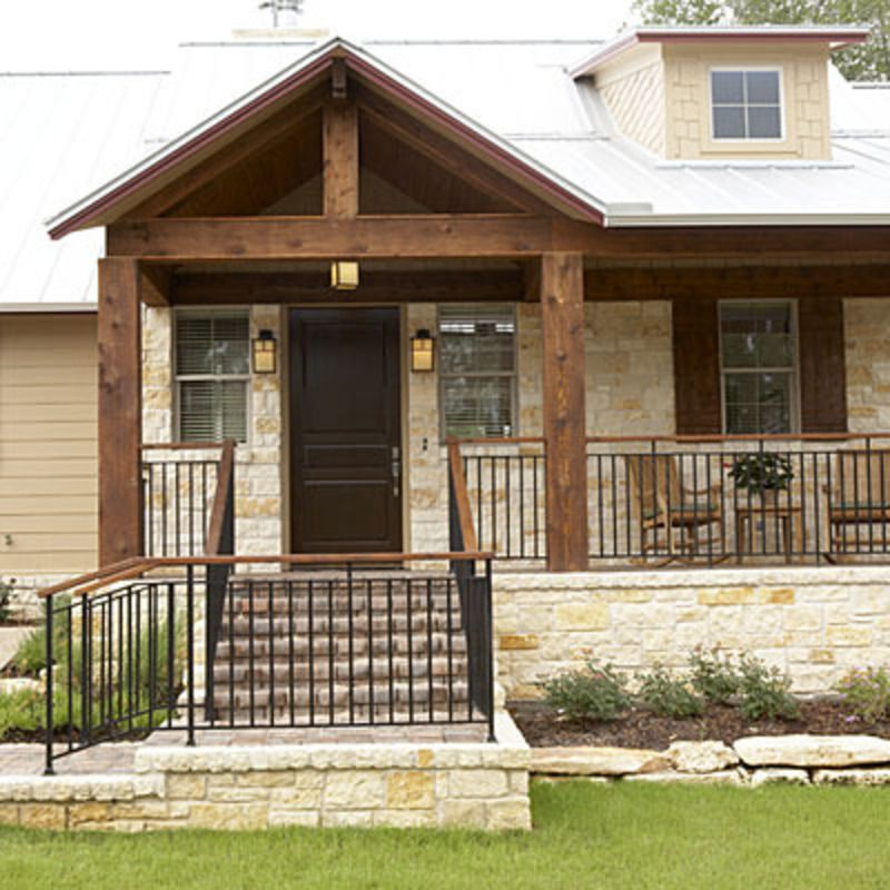 Front Porch Design Ranch Homes Stairs