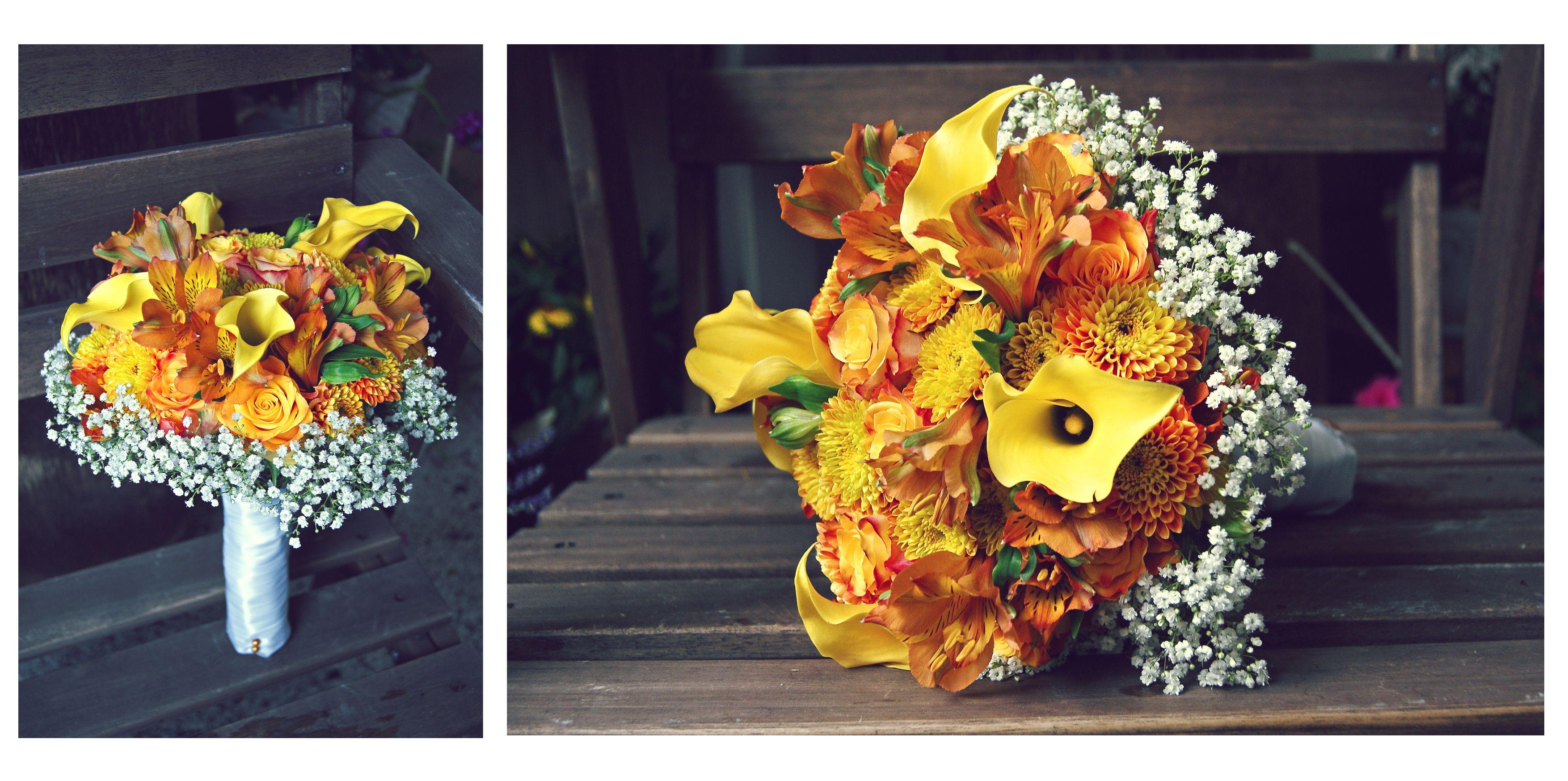 Brautstrau wei gelb orange aus Calla geflammten Rosen