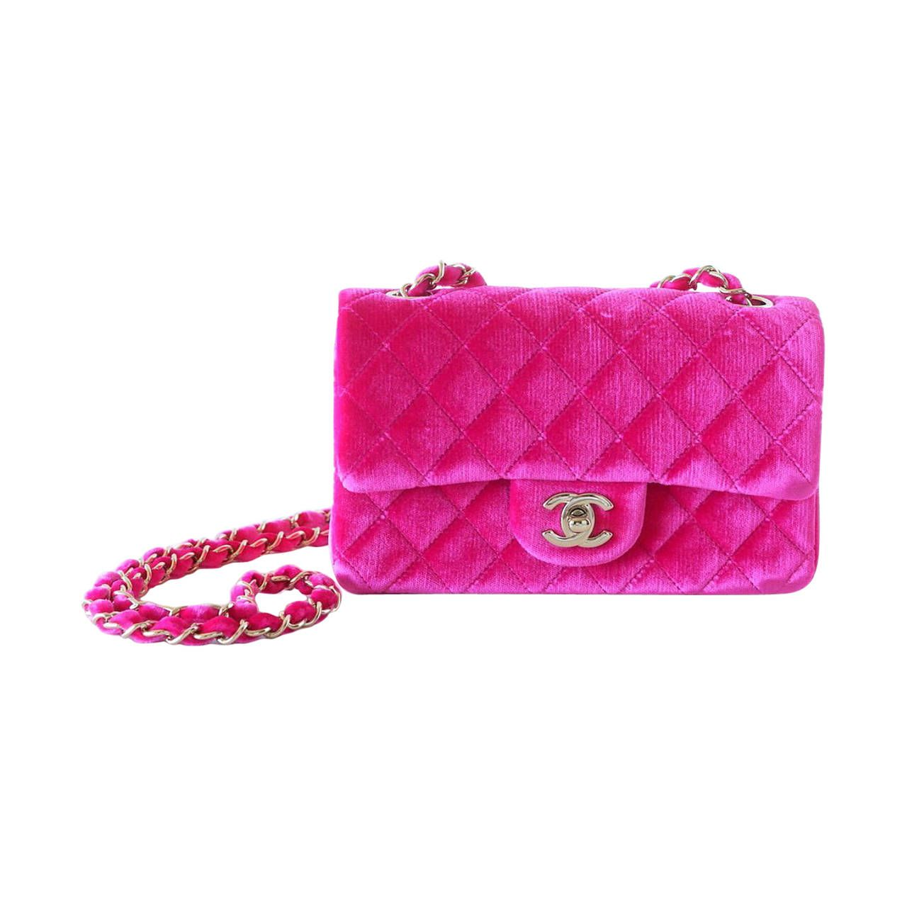 bba87b43bfa9 CHANEL bag mini rectangular velvet Fuchsia pink gold hardware | From a  collection of rare vintage