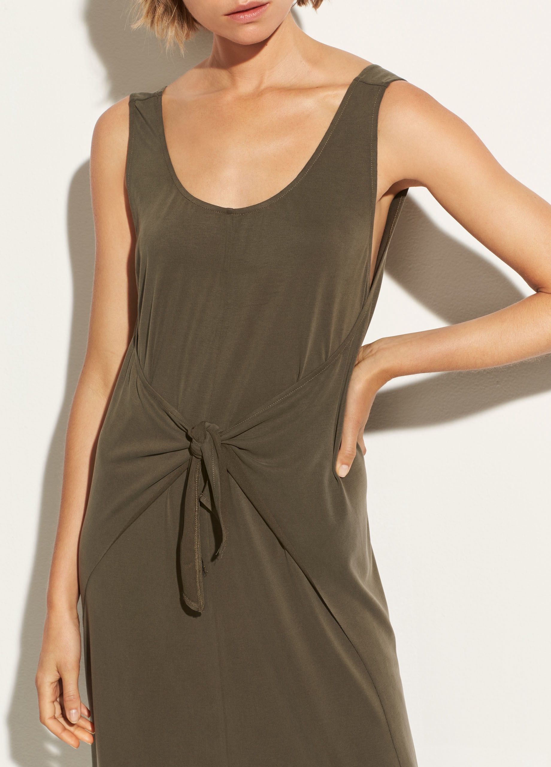 Vince Sleeveless Wrap Dress Bayleaf M Sleeveless Wrap Dress Dresses Wrap Dress [ 2560 x 1840 Pixel ]
