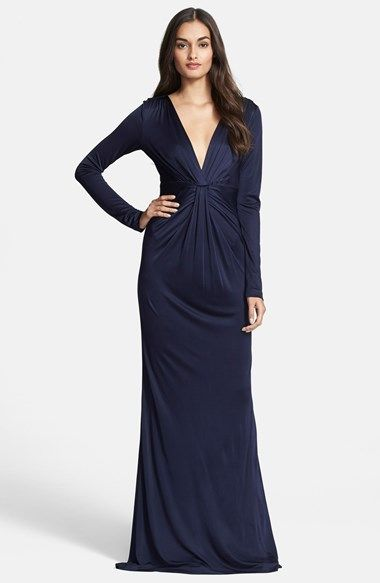 Diane+von+Furstenberg+Twist+Front+Long+Sleeve+Gown+available+at+#Nordstrom