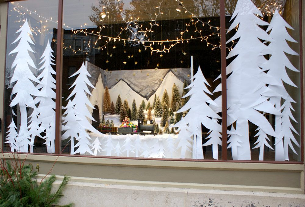 store window christmas displays   trees were easy to do and