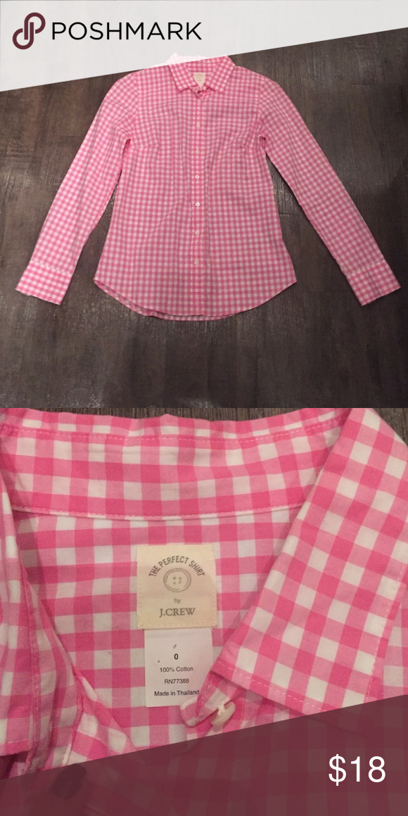 Never Been worn J. crew button up Pink gingham top. Never been worn. J. Crew Tops Button Down Shirts
