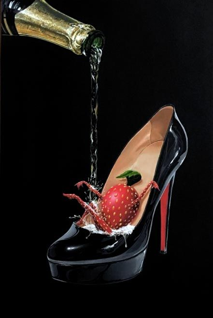 Title: Champagne Shoe   Artist: Michael Godard   Description:  Limited Edition Giclée on Canvas.  How can a girl have more fun that a sexy pair of shoes filled with champagne? This painting is about how feeling sexy makes you playful or perhaps the