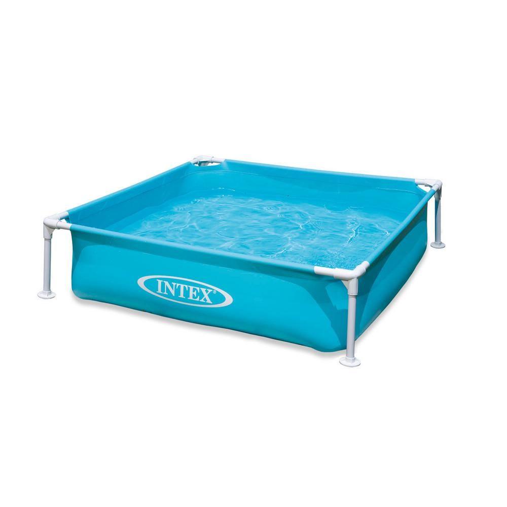 Intex Mini Frame Kiddie Square 4 Ft X 4 Ft X 6 In Deep Beginner Frame Swimming Pool In Blue 57173ep The Home Depot Frame Pool Portable Swimming Pools Kiddie Pool