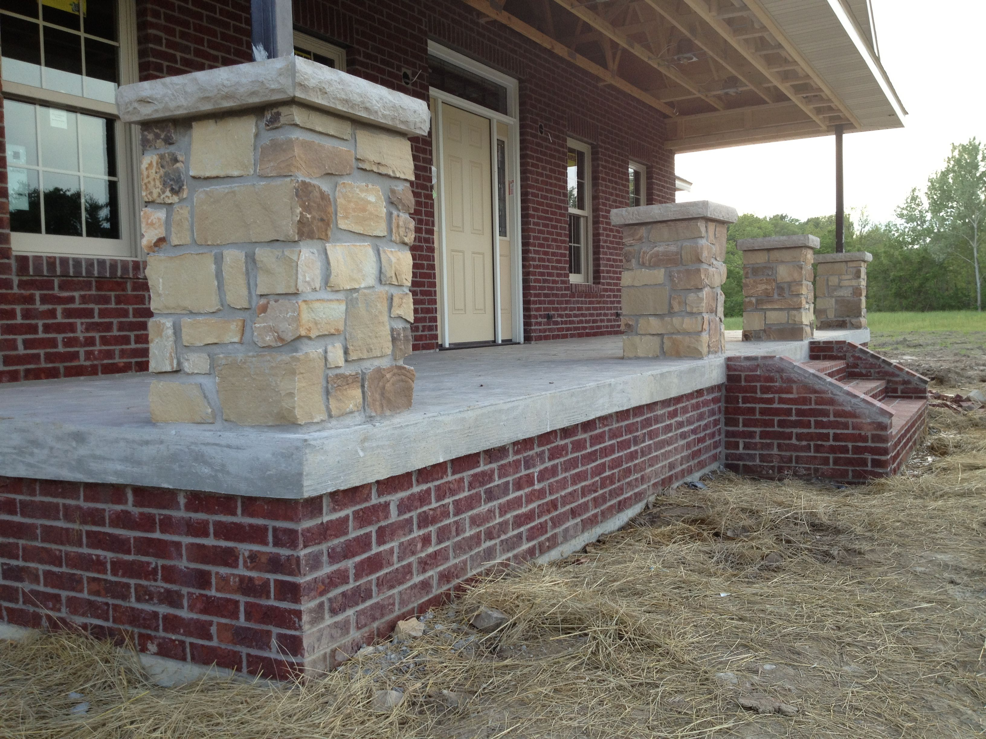 Brick And Stone Pillars : Stone porch column with dark red brick my dream home