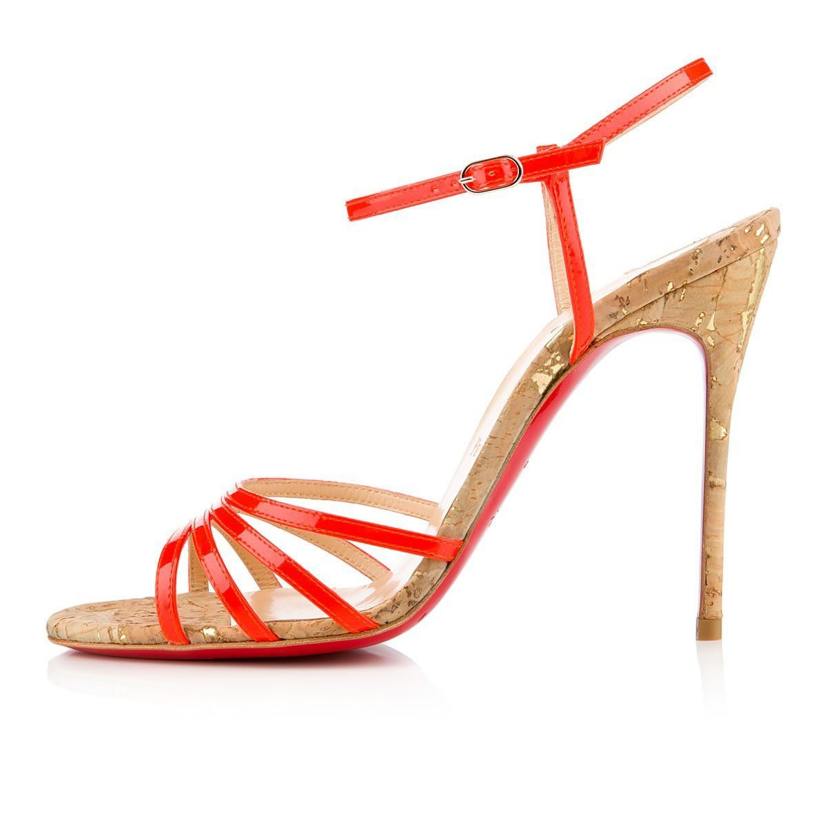 Chaussure Louboutin Pas Cher Sandales Belbride Vernis FluoLiège 100mm  Flame1 #chaussure