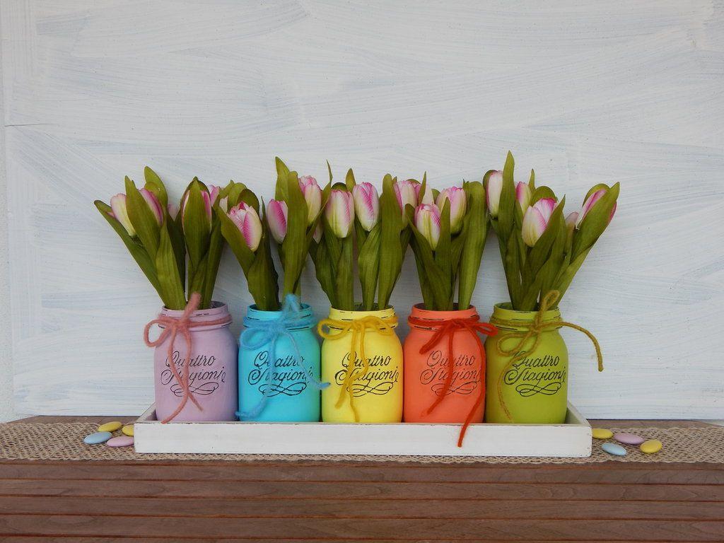 Vasi dipinti colori di primavera set da 5 pezzi for Vasi di fiori dipinti