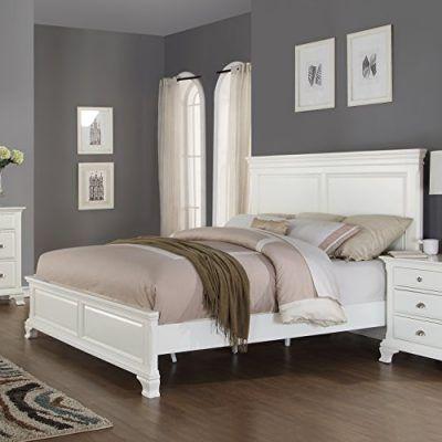 Roundhill Furniture White Bedroom Furniture Set Includes Bed Dresser