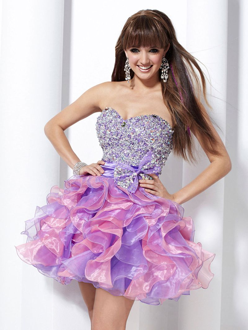 MZ0392 Sexy Short Mini Beaded Sequins Bowknot Purple and Pink Organza Cocktail Dresses 2014 $135.19