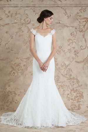 Scoop Fit And Flare Wedding Dress With No Waist Princess Seams In Lace Bridal