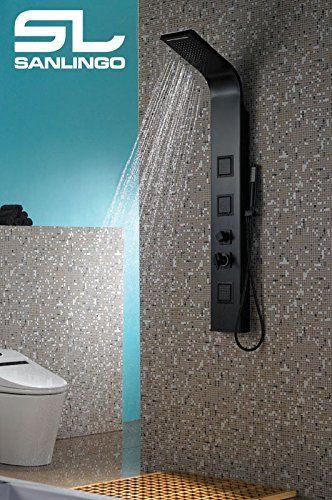 Aluminium Colonne de Douche de pluie Cascade Massage Noir Mat - hauteur robinet douche italienne