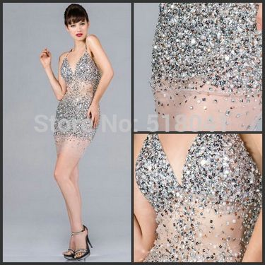 Sexy See through Cocktail Sequin Dress