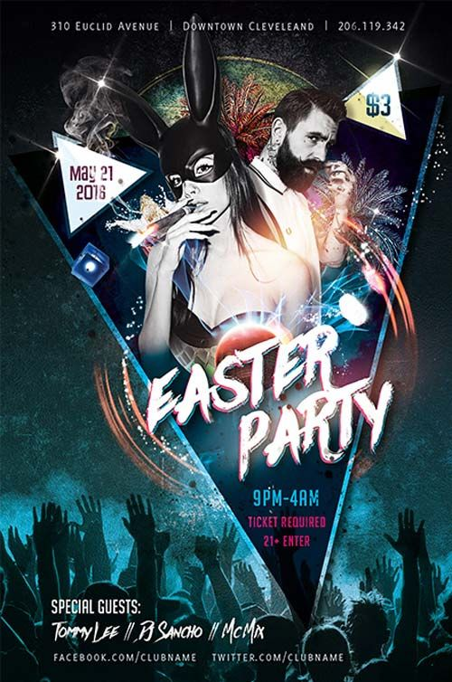 Easter Party Free Flyer Template - http://freepsdflyer.com/easter ...