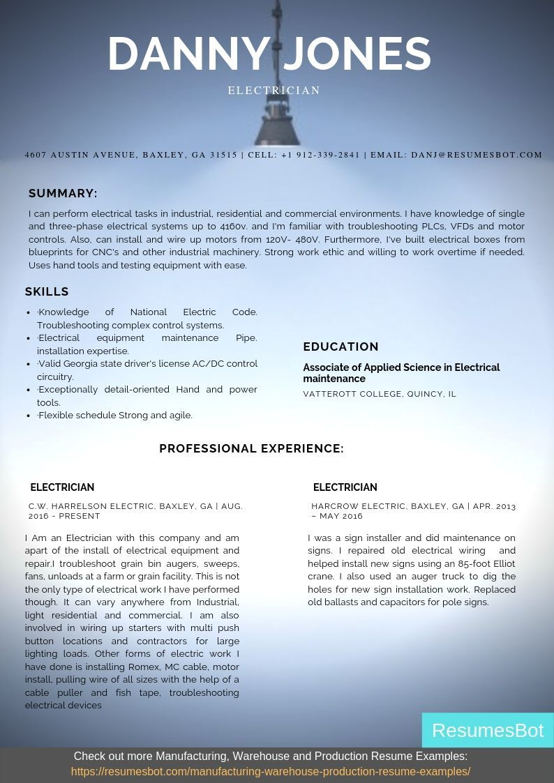 Electrician resume samples salary certification