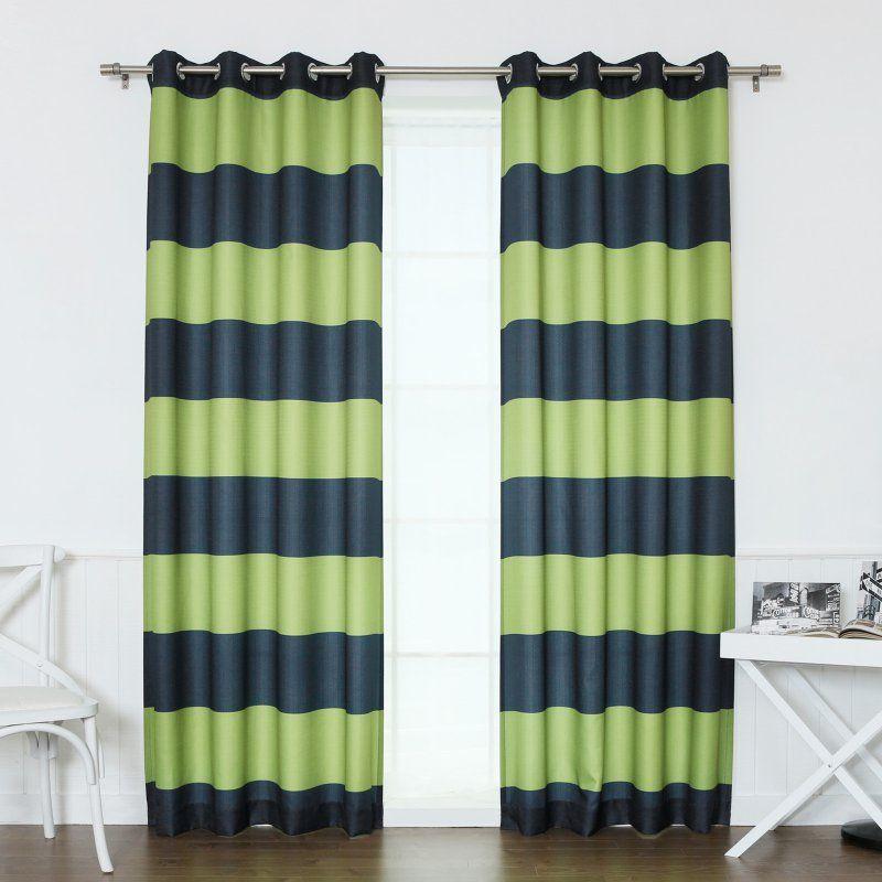 Best Home Fashion Rugby Stripe Room Darkening Curtain Pair Navy Avocado    OXFORD_HSTRIPE 84
